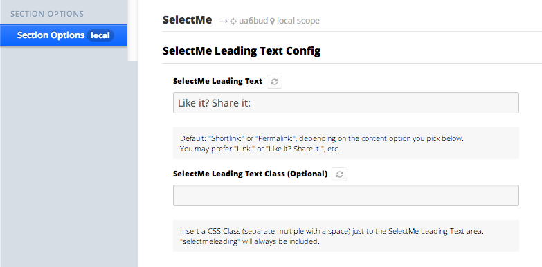 SelectMe Section Options 1