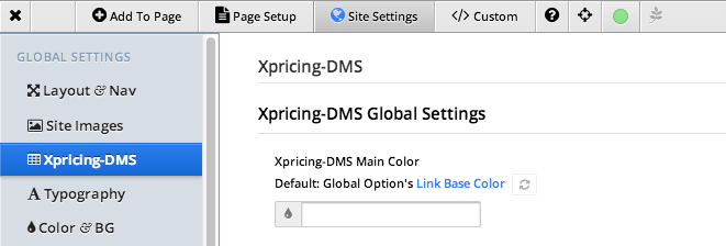 Xpricing-DMS Global Site Settings Color Option
