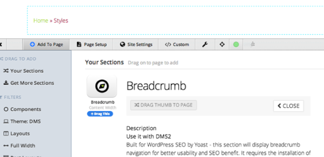 Pagelines DMS Breadcrumb NAV for WordPress SEO by Yoast